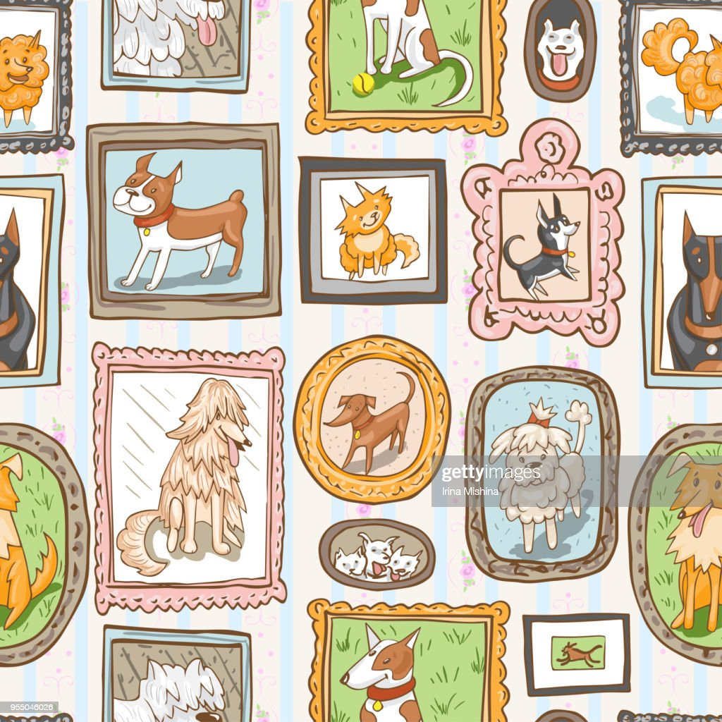 cute dogs retro portraits seamless pattern.
