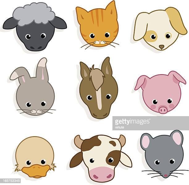 cute domestic animal icons - small stock illustrations, clip art, cartoons, & icons