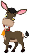 cute donkey cartoon posing