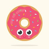 Cute donut with pink strawberry frosting glaze, big eyes and smile on it's face