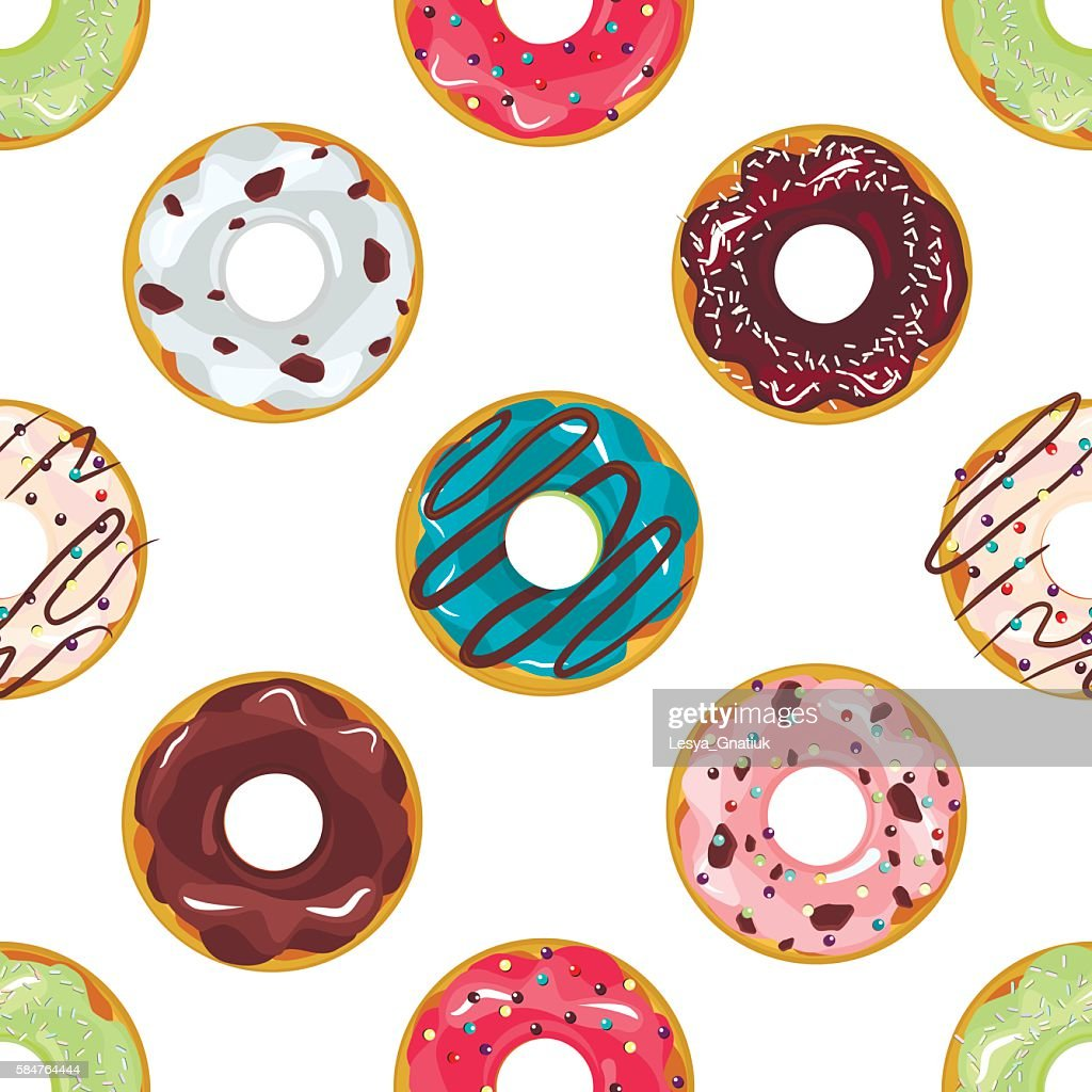 Cute donuts with colorful glazing seamless pattern vector.