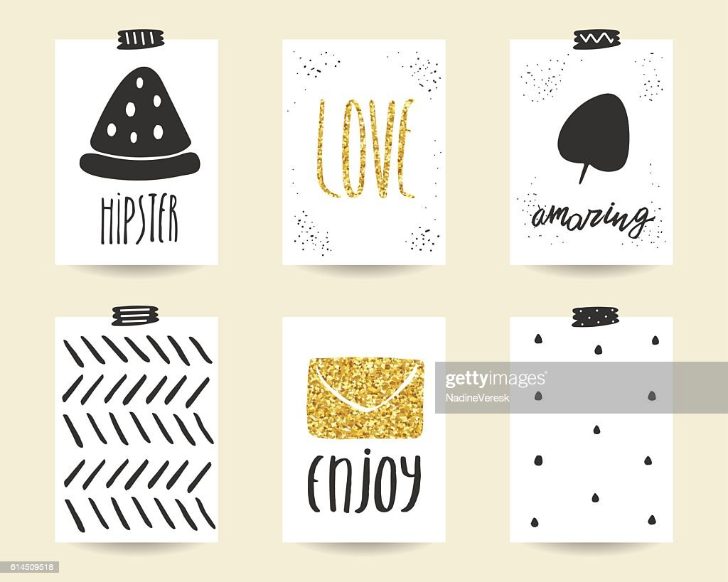 Cute doodle black and gold birthday, baby shower cards