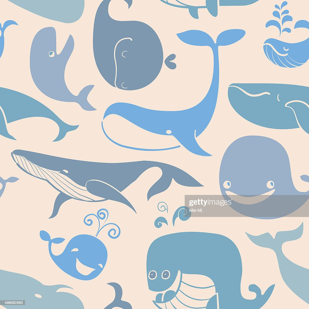 Cute doodle Blue Whales. Marine seamless background.