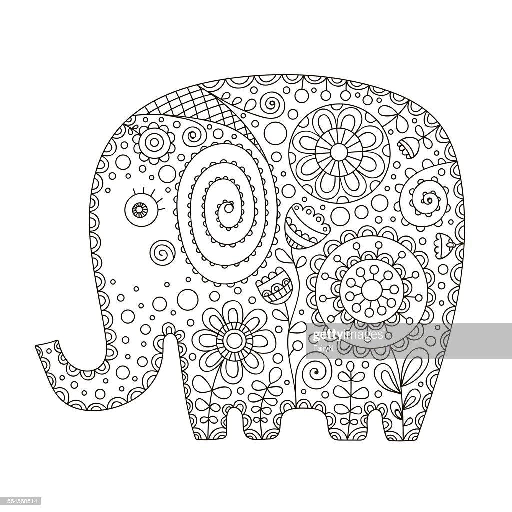 cute doodle elephant