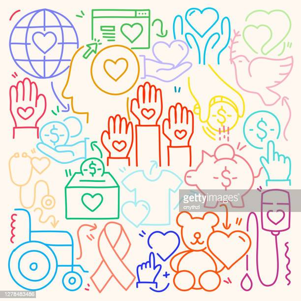 cute doodle illustration with charity and donation hand drawn colorful symbols. - giving tuesday stock illustrations