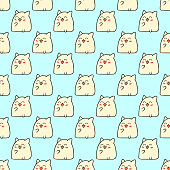 Cute doodle vector cats seamless pattern.
