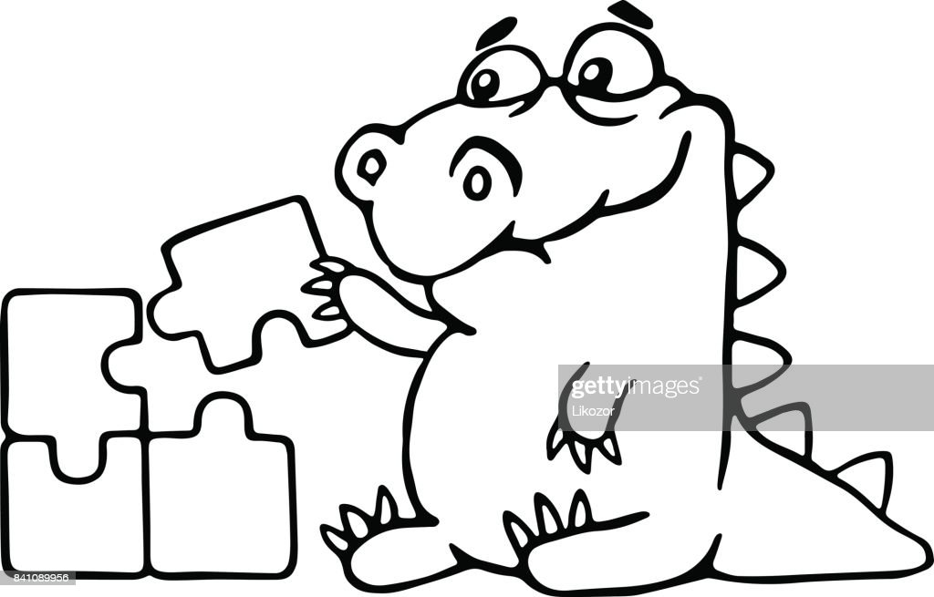 cute dragon is played and assemble the puzzle. vector illustration.