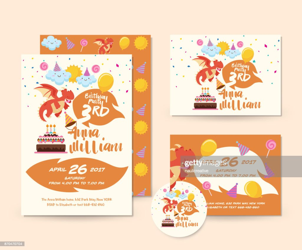 Cute Dragon Theme Happy Birthday Invitation Card Set And Flyer Illustration Template