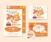 Cute Dragon Theme Happy Birthday Invitation Card Set And Flyer Illustration Template