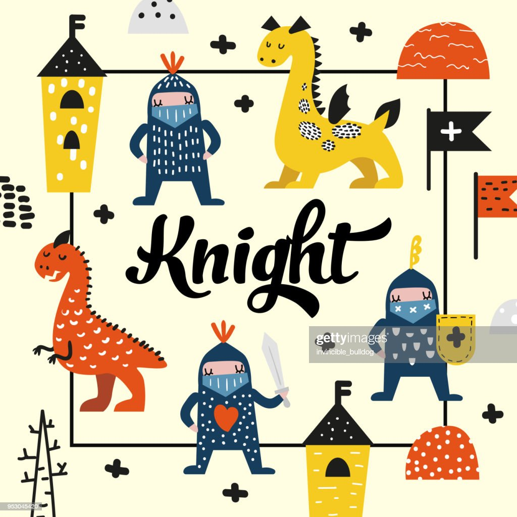 Cute Dragons and Knights Design. Creative Childish Background with Hero Boys for Cover, Decoration, Prints. Vector illustration