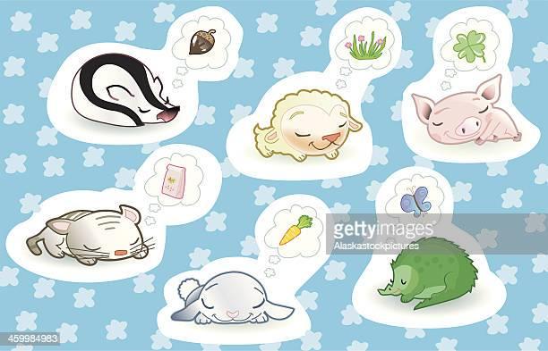 cute dreaming animals. - cat food stock illustrations