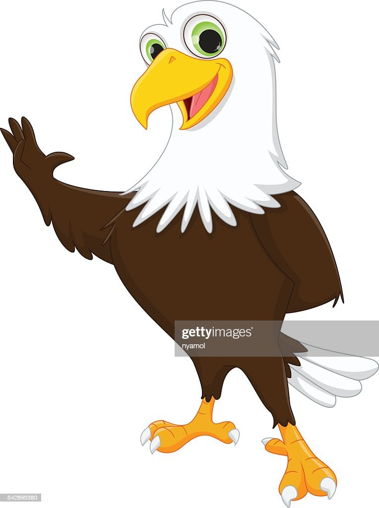 cute eagle cartoon waving hand