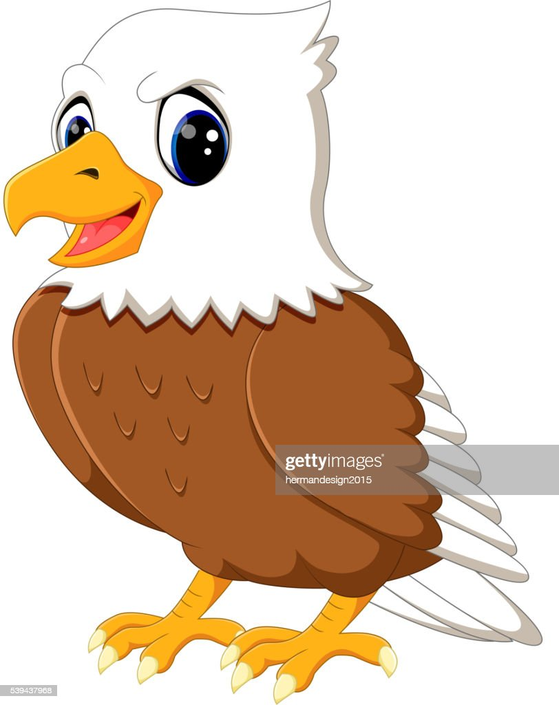 Cute eagle cartoon waving