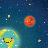 Cute Earth and Mars in space