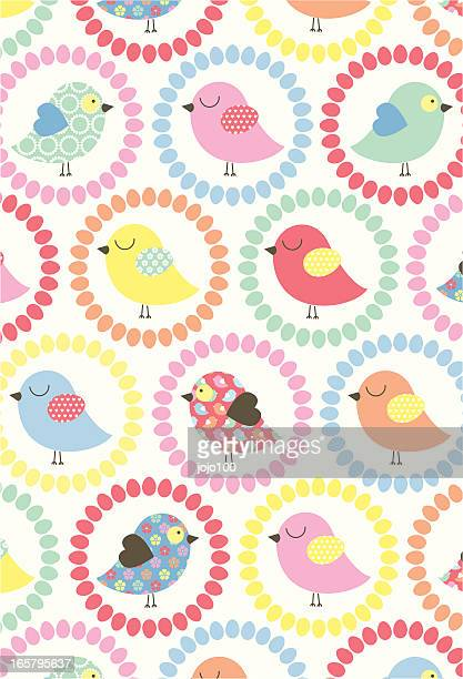 Cute Easter Chick Pattern with Flowers