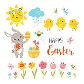 Cute Easter design elements