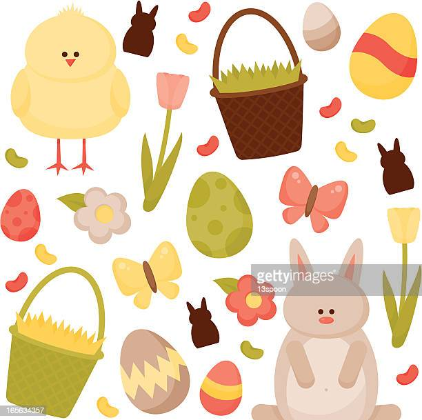 cute easter illustrations with bunny, baby chicks, eggs and baskets - milk chocolate stock illustrations, clip art, cartoons, & icons