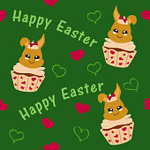 cute easter pattern with easter bunny in cupcake.