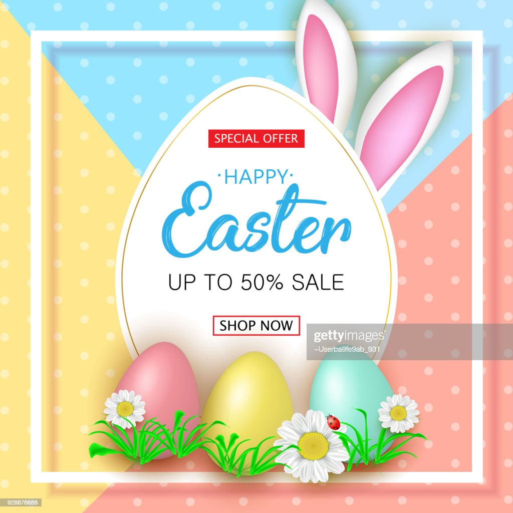 Cute Easter sale banner with flowers, Easter eggs and Rabbit ear