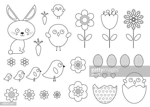 Cute Easter Vector Icons in Outline