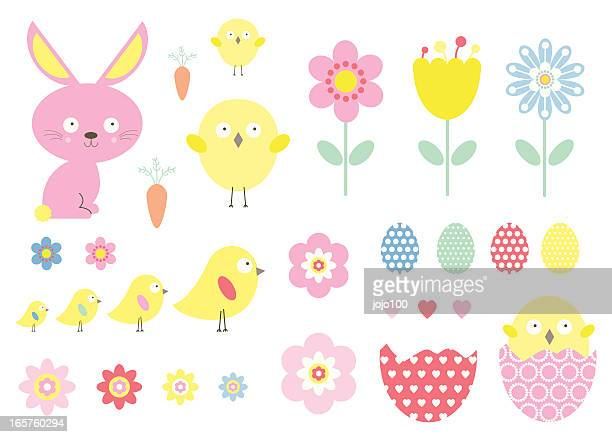 cute easter vector icons - easter bunny stock illustrations
