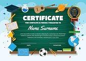 Cute Education Classroom Theme Children Certificate Of Achievement And Appreciation Template