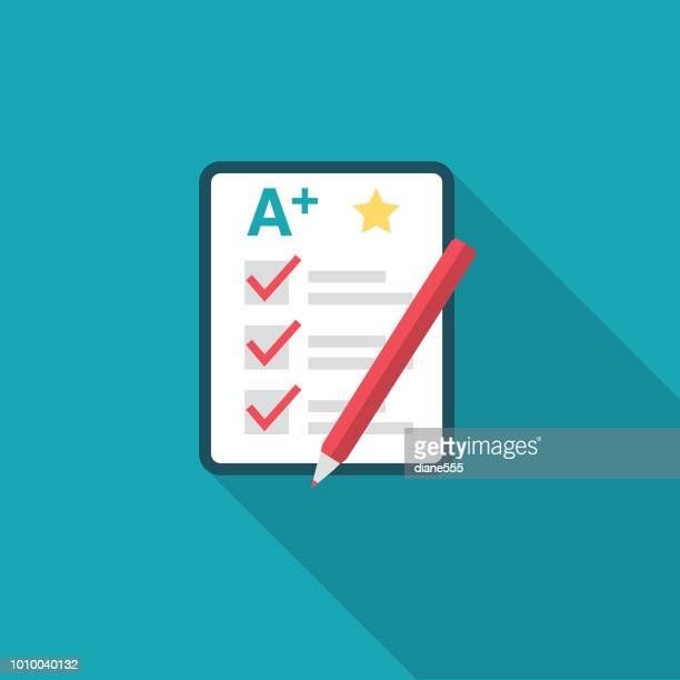 cute education icon - report card - report card stock illustrations