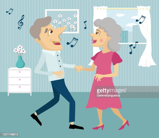 cute elderly couple dancing - arthritis stock illustrations