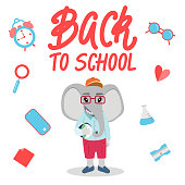 Cute elephant character for Back to school banner/poster concept.