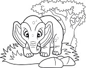 cute elephant, funny illustration coloring book