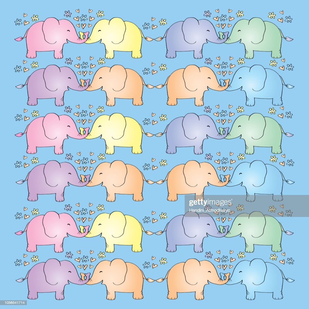 Cute Elephant pattern background