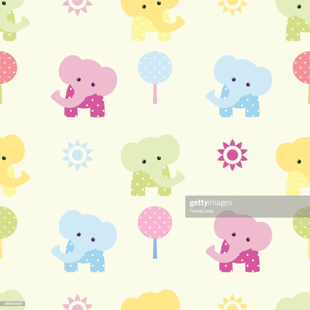 Cute elephant seamless vector pattern