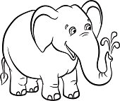 Cute elephant stands ans smiles.