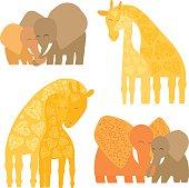 Cute elephants and giraffes - moms and kids.