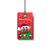 Cute Elf On Merry Christmas Sale Tag Isolated On White Background