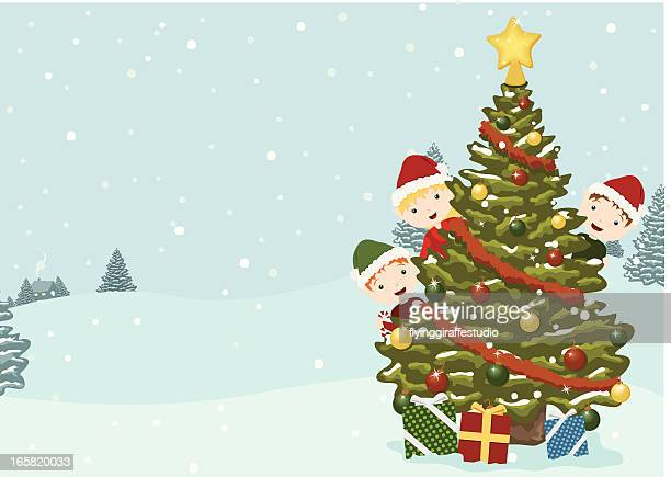 Cute Elves with Holiday Tree