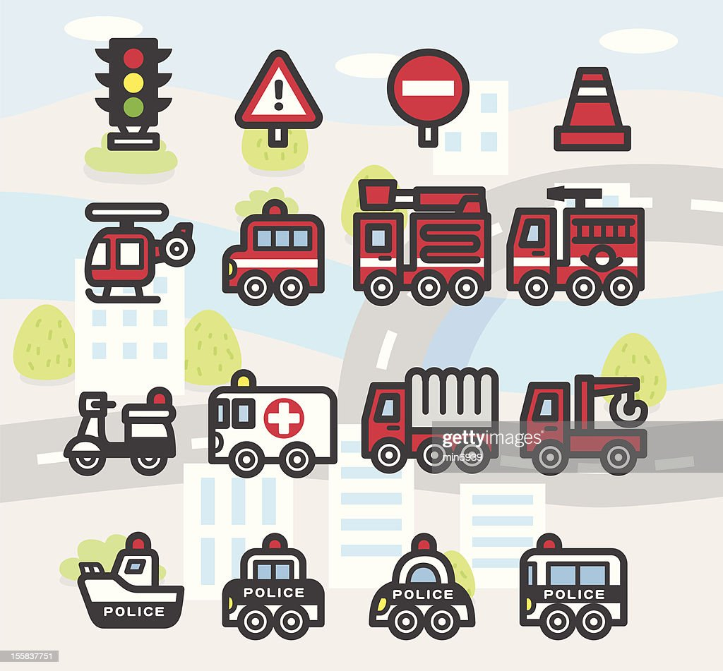 Cute Emergency services Icon set