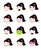 Cute emoji collection. Kawaii asian girl face different moods