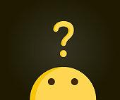 Cute emoji looking up at a question mark indicating a problem. Problem solving, curiosity, questions, doubts, solutions. Vector illustration design