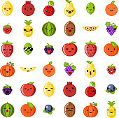 Cute emoji smile fresh fruit apple cherry watermelon kiwi strawberry lemon peach pear banana healthy food natural vitamins cartoon children characters flat design icons vector illustration