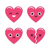 Cute emoticon hearts