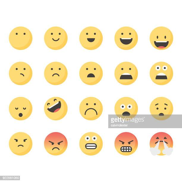 illustrazioni stock, clip art, cartoni animati e icone di tendenza di cute emoticons set 1 - parte di una serie