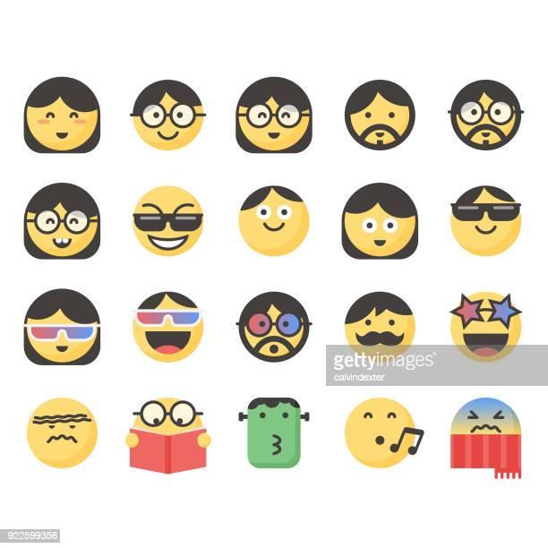 ilustrações de stock, clip art, desenhos animados e ícones de cute emoticons set 11 - kawaii