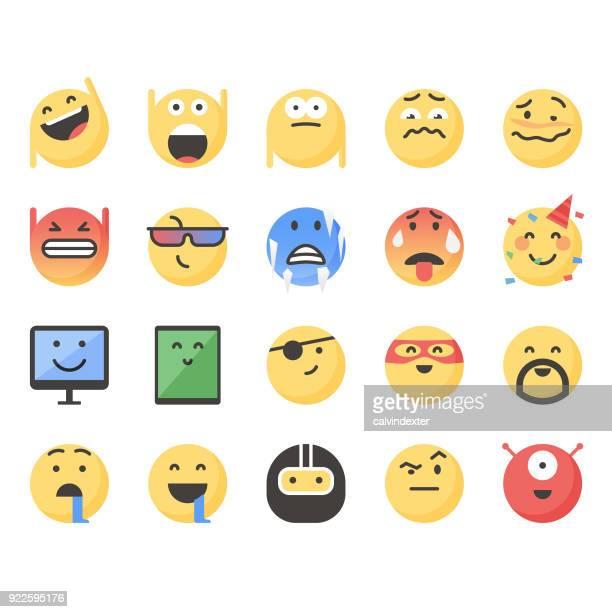 ilustrações de stock, clip art, desenhos animados e ícones de cute emoticons set 12 - kawaii