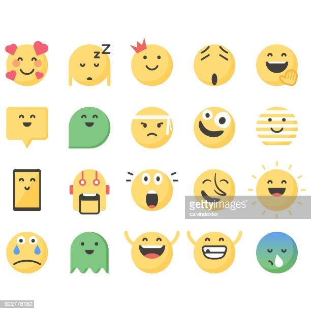 cute emoticons set 13 - smiling stock illustrations