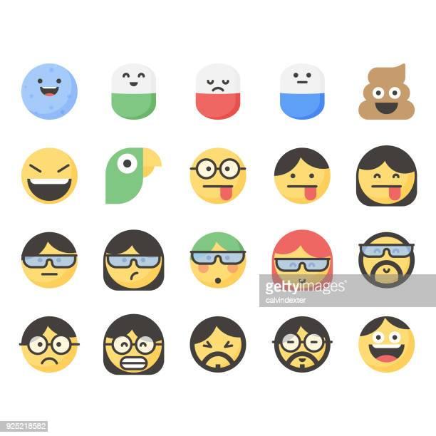 ilustrações, clipart, desenhos animados e ícones de emoticons bonitos conjunto 14 - smiley faces