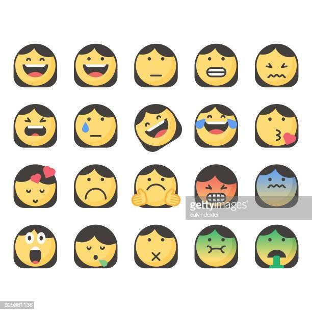 cute emoticons set 15 - sick stock illustrations, clip art, cartoons, & icons