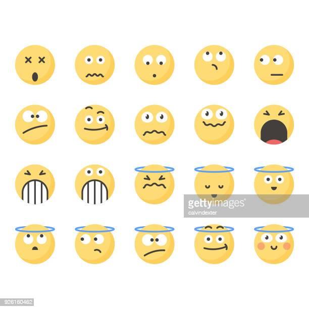 ilustrações, clipart, desenhos animados e ícones de emoticons bonitos conjunto 17 - incerteza
