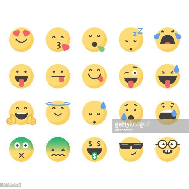 cute emoticons set 4 - tongue stock illustrations, clip art, cartoons, & icons