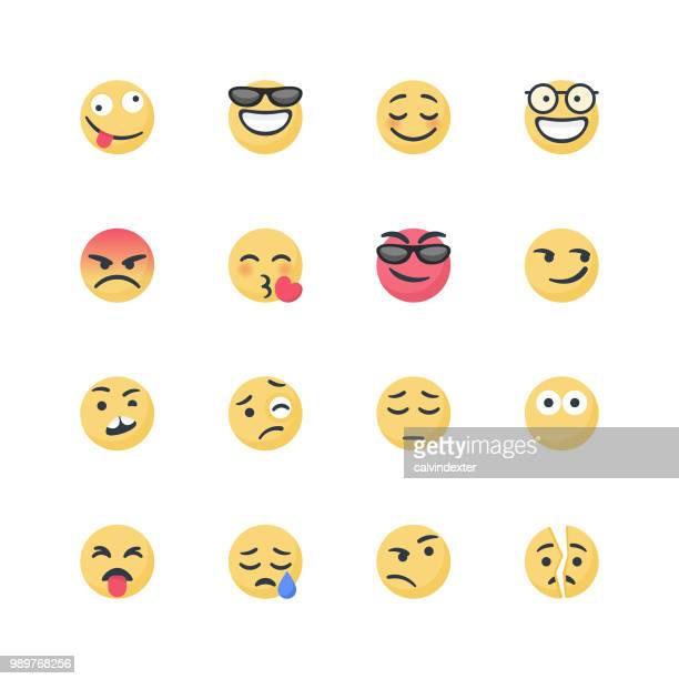 cute emoticons set - sneering stock illustrations, clip art, cartoons, & icons
